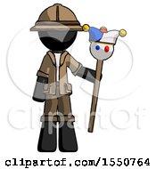 Black Explorer Ranger Man Holding Jester Staff