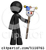 Black Design Mascot Man Holding Jester Staff