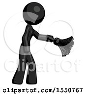Black Design Mascot Woman Dusting With Feather Duster Downwards