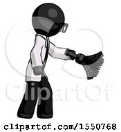 Black Doctor Scientist Man Dusting With Feather Duster Downwards