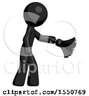 Black Design Mascot Man Dusting With Feather Duster Downwards