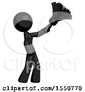 Black Design Mascot Woman Dusting With Feather Duster Upwards