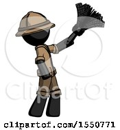 Black Explorer Ranger Man Dusting With Feather Duster Upwards