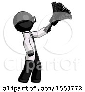 Black Doctor Scientist Man Dusting With Feather Duster Upwards