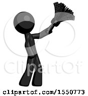 Black Design Mascot Man Dusting With Feather Duster Upwards