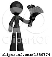 Black Design Mascot Woman Holding Feather Duster Facing Forward