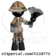 Black Explorer Ranger Man Holding Feather Duster Facing Forward