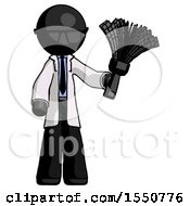 Black Doctor Scientist Man Holding Feather Duster Facing Forward