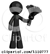 Black Design Mascot Man Holding Feather Duster Facing Forward