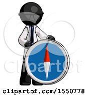 Black Doctor Scientist Man Standing Beside Large Compass