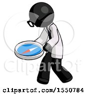 Black Doctor Scientist Man Walking With Large Compass