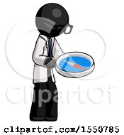 Black Doctor Scientist Man Looking At Large Compass Facing Right