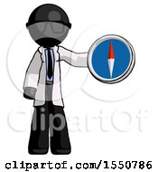 Black Doctor Scientist Man Holding A Large Compass