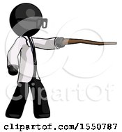Black Doctor Scientist Man Pointing With Hiking Stick