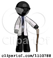 Black Doctor Scientist Man Standing With Hiking Stick