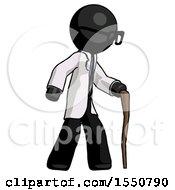 Black Doctor Scientist Man Walking With Hiking Stick