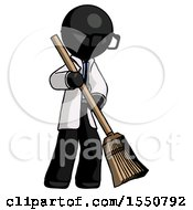 Black Doctor Scientist Man Sweeping Area With Broom