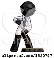 Black Doctor Scientist Man Cleaning Services Janitor Sweeping Floor With Push Broom