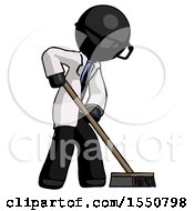 Black Doctor Scientist Man Cleaning Services Janitor Sweeping Side View