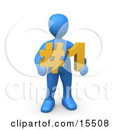 Blue Person Holding A Number One Sign Clipart Illustration Image