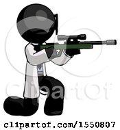 Poster, Art Print Of Black Doctor Scientist Man Kneeling Shooting Sniper Rifle
