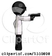 Black Doctor Scientist Man Firing A Handgun