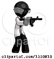 Black Doctor Scientist Man Shooting Automatic Assault Weapon