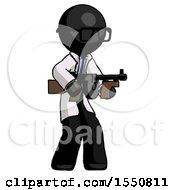 Poster, Art Print Of Black Doctor Scientist Man Tommy Gun Gangster Shooting Pose