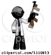 Poster, Art Print Of Black Doctor Scientist Man Holding Tommygun