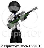 Poster, Art Print Of Black Doctor Scientist Man Holding Sniper Rifle Gun