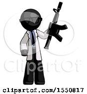 Poster, Art Print Of Black Doctor Scientist Man Holding Automatic Gun