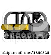Black Doctor Scientist Man Driving Amphibious Tracked Vehicle Side Angle View