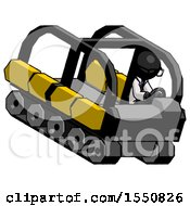 Black Doctor Scientist Man Driving Amphibious Tracked Vehicle Top Angle View