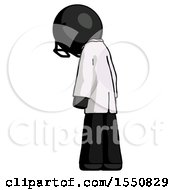 Black Doctor Scientist Man Depressed With Head Down Back To Viewer Left