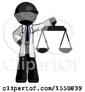 Black Doctor Scientist Man Holding Scales Of Justice