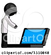 Black Doctor Scientist Man Using Large Laptop Computer Side Orthographic View