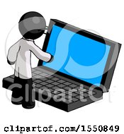 Black Doctor Scientist Man Using Large Laptop Computer