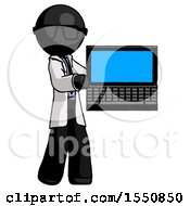 Black Doctor Scientist Man Holding Laptop Computer Presenting Something On Screen
