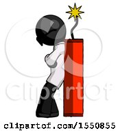 Black Doctor Scientist Man Leaning Against Dynimate Large Stick Ready To Blow
