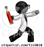 Black Doctor Scientist Man Throwing Dynamite