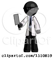 Black Doctor Scientist Man Holding Meat Cleaver