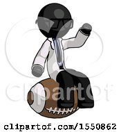 Poster, Art Print Of Black Doctor Scientist Man Sitting On Giant Football