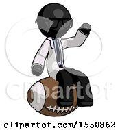 Black Doctor Scientist Man Sitting On Giant Football