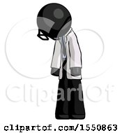 Black Doctor Scientist Man Depressed With Head Down Turned Left
