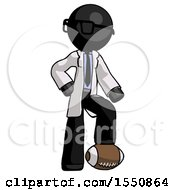 Black Doctor Scientist Man Standing With Foot On Football