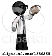 Black Doctor Scientist Man Holding Football Up