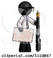 Black Doctor Scientist Man Holding Large Envelope And Calligraphy Pen