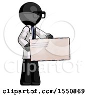 Black Doctor Scientist Man Presenting Large Envelope
