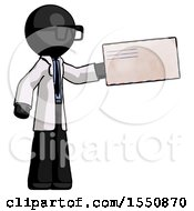 Black Doctor Scientist Man Holding Large Envelope