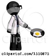 Poster, Art Print Of Black Doctor Scientist Man Frying Egg In Pan Or Wok Facing Right